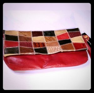 NWT Necessary Objects Leather Patchwork Clutch